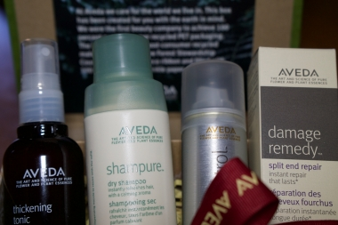 Aveda Thickening Tonic, Aveda Dry Shampoo, Aveda Control Hairspray, Aveda Damage Remedy Split end repair