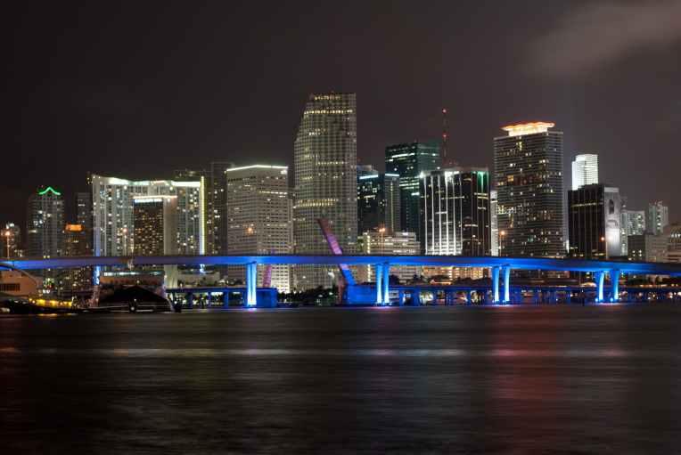 architecture blue bridge buildings